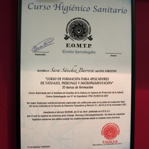 Certificado Miss Tattoo Ink